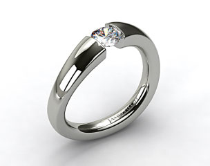 14k White Gold Wave Tension V122 by Danhov Designer Engagement Ring